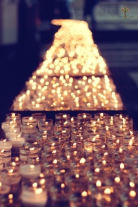 Golden path of tealights